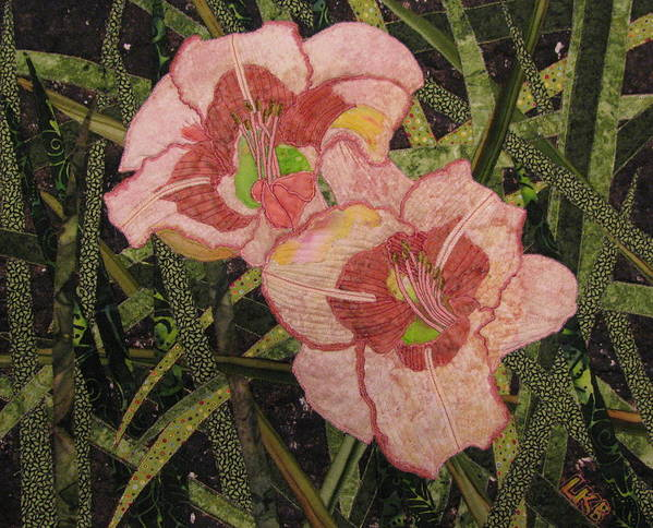 Nature Tapestries - Textiles Poster featuring the tapestry - textile Lynda's Daylilies by Lynda K Boardman