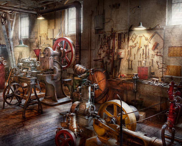 Machinist Poster featuring the photograph Machinist - A Room Full Of Memories by Mike Savad