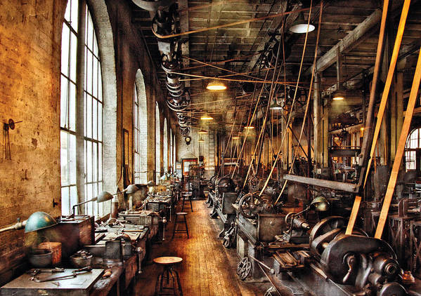 Savad Poster featuring the photograph Machinist - Machine Shop Circa 1900's by Mike Savad
