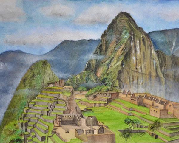 Machu Picchu Poster featuring the painting Machu Picchu by Swati Singh