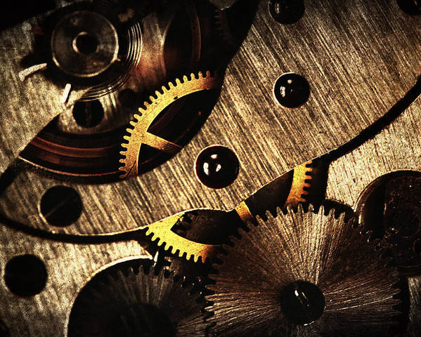Clock Poster featuring the pyrography Macro Mechanic by Svetoslav Sokolov