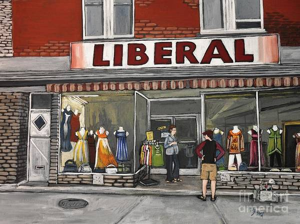 Magasin Liberal Poster featuring the painting Magasin Liberal Notre Dame by Reb Frost