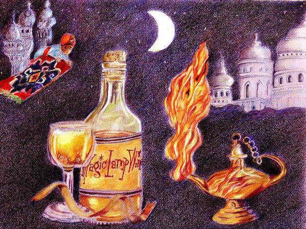 Aladdin Poster featuring the drawing Magic Lamp Wine by Candace Hardy