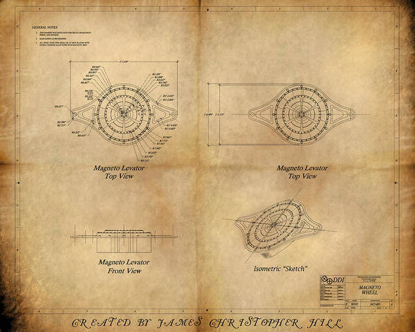 Steampunk; Gears; Housing; Cogs; Machinery; Lathe; Columns; Brass; Copper; Gold; Ratio; Rotation; Elegant; Forge; Industry; Jules Verne Poster featuring the painting Magneto System Blueprint by James Christopher Hill