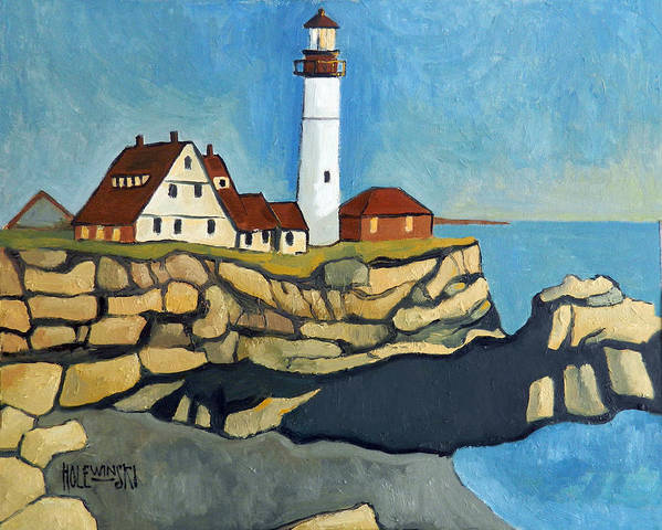 Lighthouse Poster featuring the painting Maine Lighthouse by Robert Holewinski