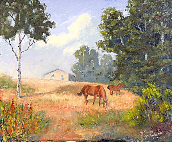 Landscape Poster featuring the painting Mainely Grazing by Tommy Thompson