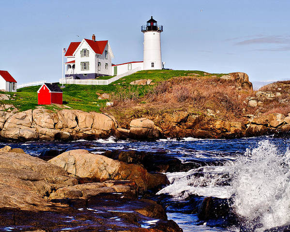 Nubble Light Poster featuring the photograph Maine's Nubble Light by Mitchell R Grosky