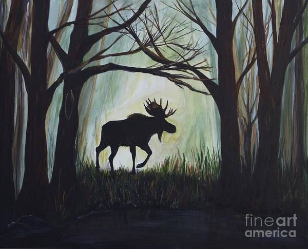Bull Moose Poster featuring the painting Majestic Bull Moose by Leslie Allen