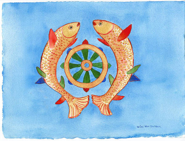 Buddhism Poster featuring the painting Makya Golden Fish by Wicki Van De Veer