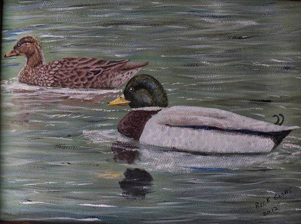 A Pair Of Mallard Ducks On A Cove Of Lake Greenwood Poster featuring the painting Mallards On Holloway Cove by Richard Goohs