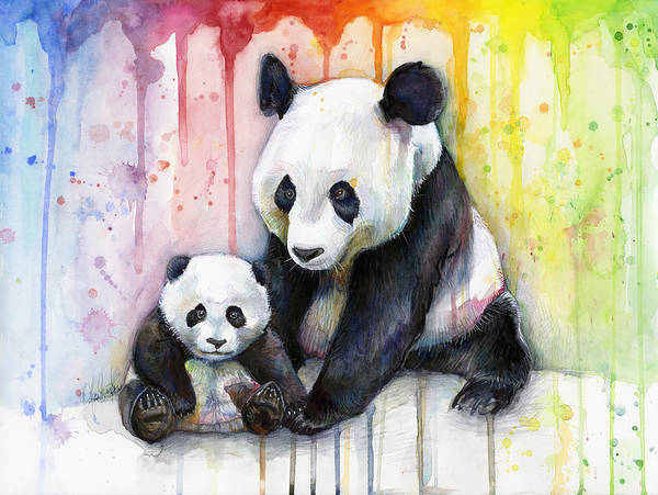 Watercolor Poster featuring the painting Panda Watercolor Mom And Baby by Olga Shvartsur