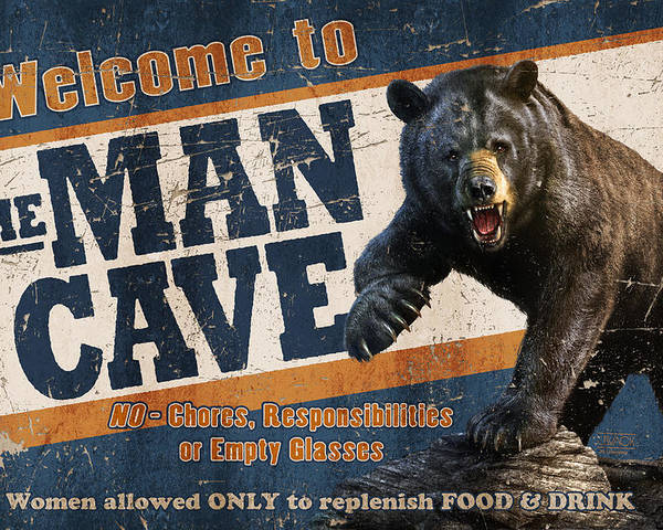 Jeff Wack Poster featuring the painting Man Cave Balck Bear by JQ Licensing