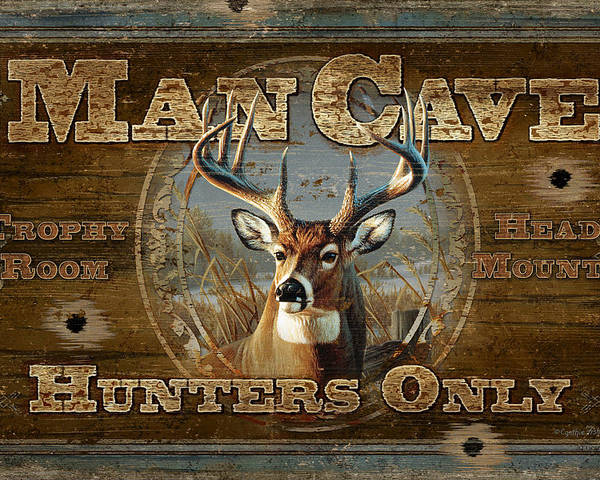 Cynthie Fisher Poster featuring the painting Man Cave Deer by JQ Licensing