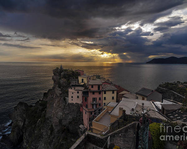 Manarola Poster featuring the Manarola Sunset Storm by Mike Reid
