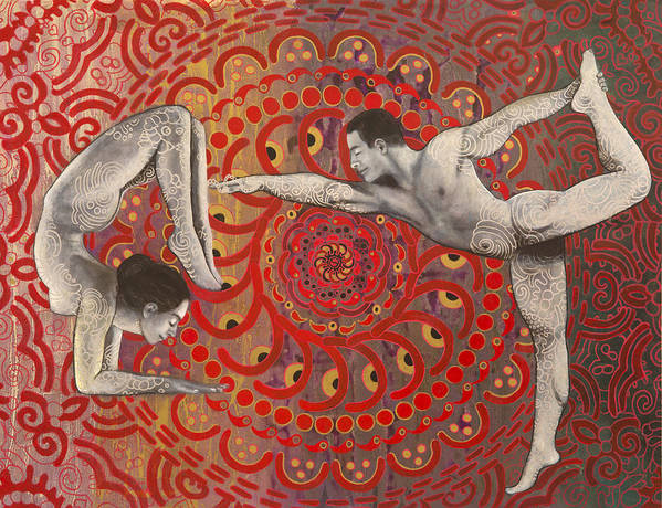 Yoga Poster featuring the painting Mandala Dance by Hector and Agata ART