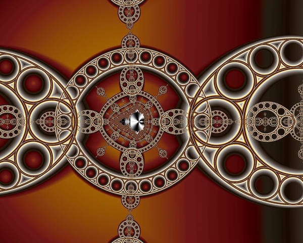 Abstract Poster featuring the digital art Mandelbrot And Steiner Chains by Mark Eggleston