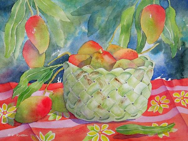 Mango's Poster featuring the painting Mango Harvest by Kathleen Rutten