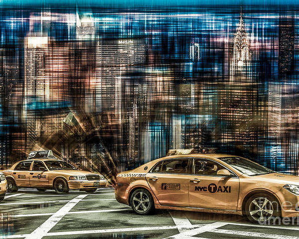 Nyc Poster featuring the photograph Manhattan - Yellow Cabs - Future by Hannes Cmarits
