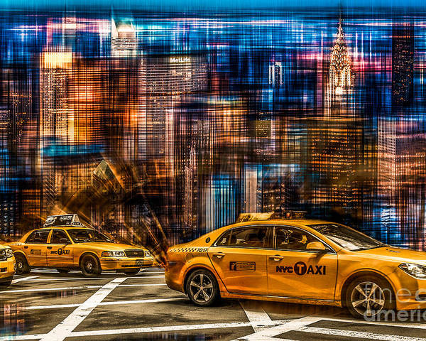 Nyc Poster featuring the photograph Manhattan - Yellow Cabs I by Hannes Cmarits