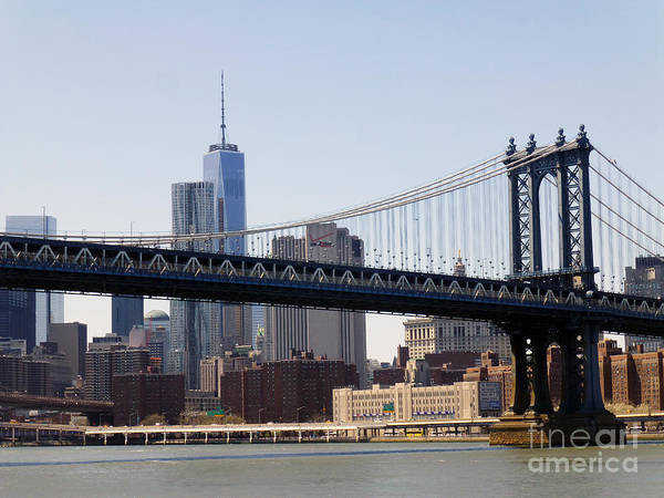 Manhattan Bridge Poster featuring the photograph Manhattan Bridge And One Wtc by Steven Spak