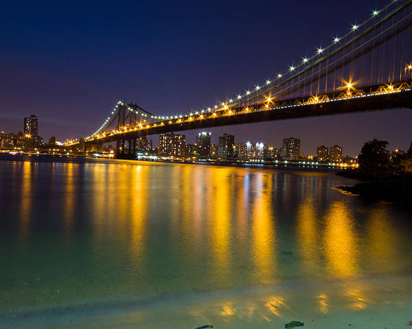 America Poster featuring the glass art Manhattan Bridge by Mircea Costina Photography