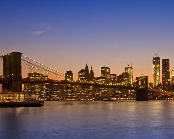 New York Poster featuring the photograph Manhattan Brooklyn Bridge by Melanie Viola