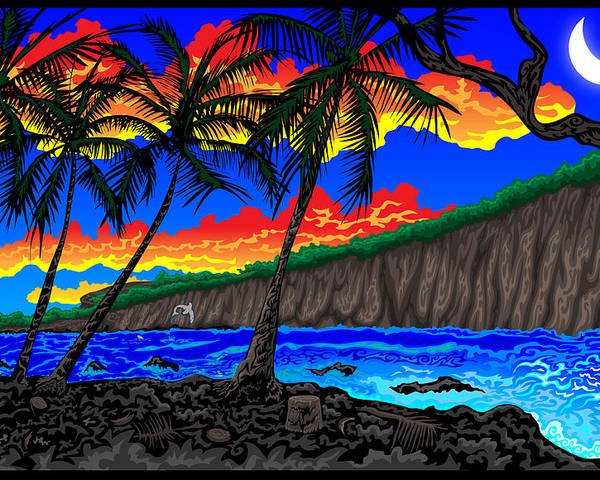 Hawaii Poster featuring the digital art Manini by Thome Designs