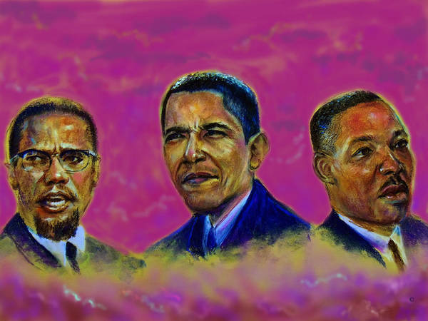 Malcomn X Poster featuring the pastel M.a.n...malcolm- Obama- Martin by Tommy Winn