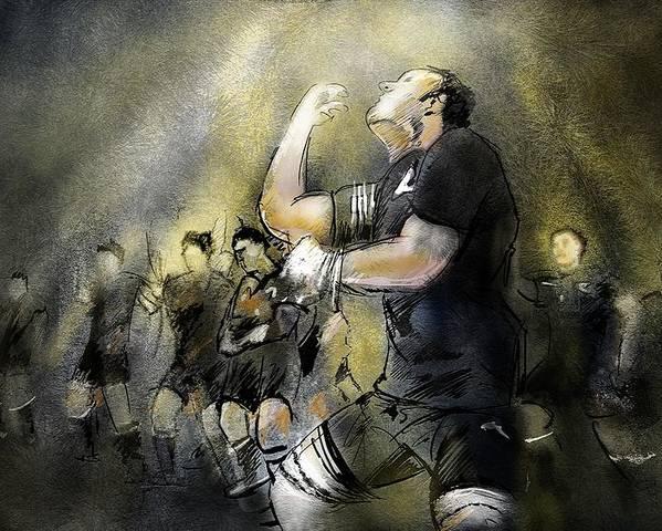 All Blacks Poster featuring the painting Maori Haka by Miki De Goodaboom