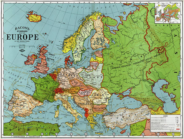 Map Europe 1920 Poster By Granger