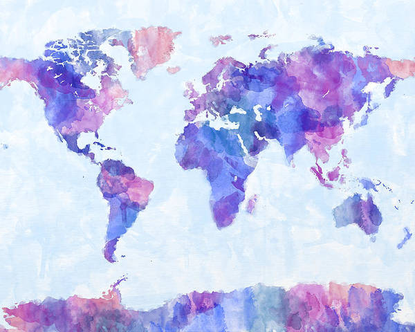 Map Of The World Poster featuring the digital art Map Of The World Map Watercolor Painting by Michael Tompsett
