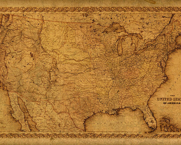 Map Of United States Of America Vintage Schematic Cartography Circa ...
