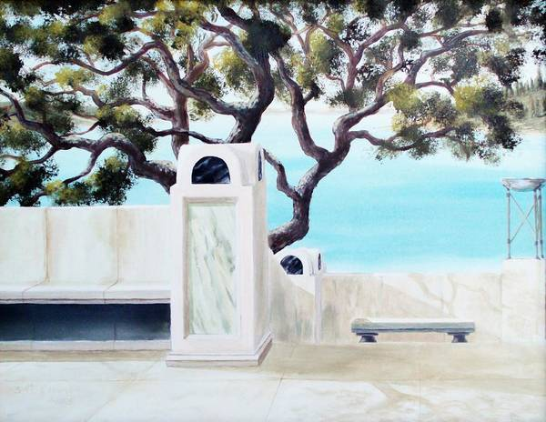 Landscape Poster featuring the painting Marble Courtyard by Scott Alcorn