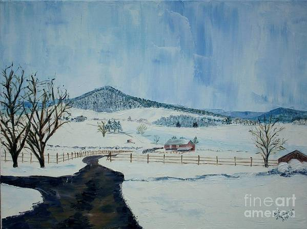 Mole Hill; Snow; Dark Driveway In Foreground Poster featuring the painting March Snow On Mole Hill - Sold by Judith Espinoza
