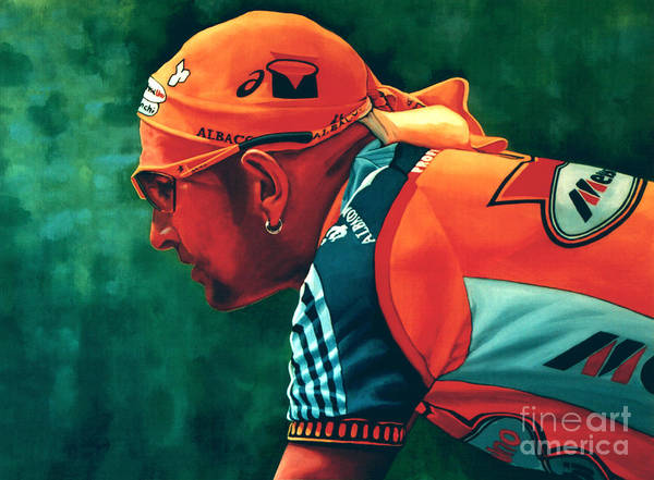 Marco Pantani Poster featuring the painting Marco Pantani 2 by Paul Meijering