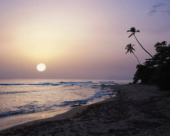 Beach Poster featuring the photograph Marias Beach Sunset Rincon Puerto Rico by George Oze