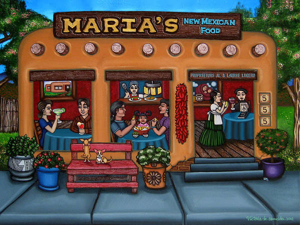 Folk Art Poster featuring the painting Maria's New Mexican Restaurant by Victoria De Almeida