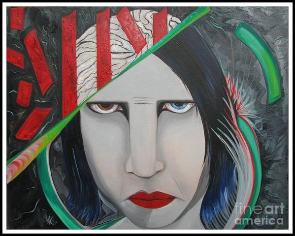 Marilyn Manson Poster featuring the painting Marilyn by Aimee Vance