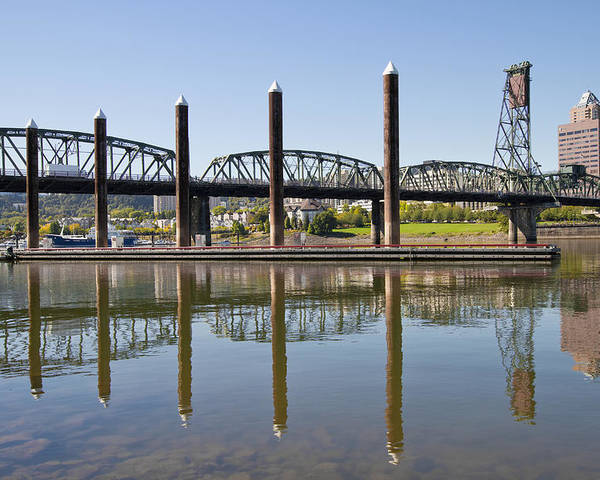 Marina Poster featuring the photograph Marina By Willamette River In Portland Oregon by Jit Lim