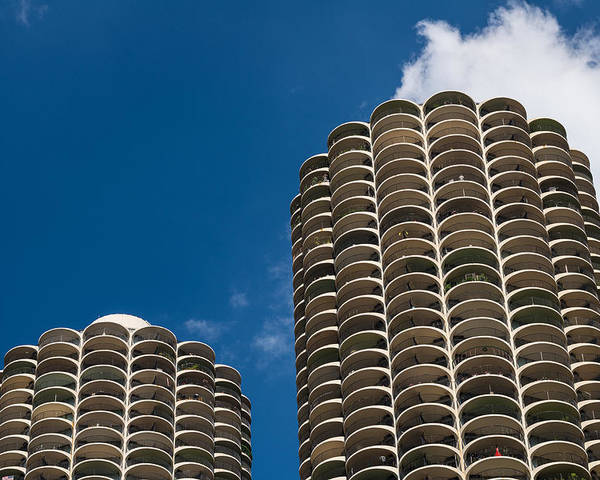 Marina Poster featuring the photograph Marina City Morning by Steve Gadomski