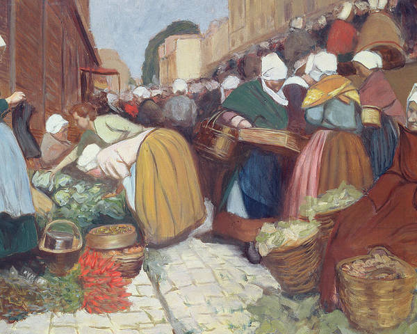 French Poster featuring the painting Market In Brest by Fernand Piet