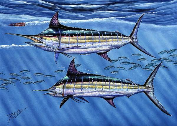 Blue Marlin Poster featuring the painting Marlins Twins by Terry Fox