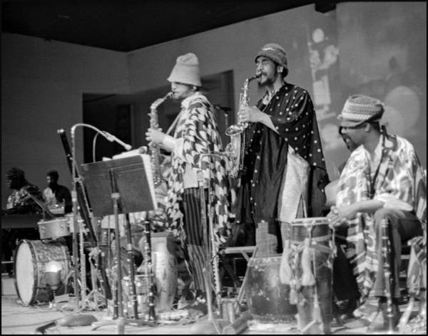 Sun Ra Arkestra At Freeborn Hall Poster featuring the photograph Marshall Allen And Danny Davis by Lee Santa