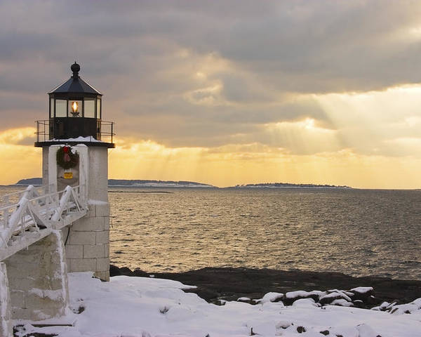 Winter Poster featuring the photograph Marshall Point Lighthouse In Winter Maine by Keith Webber Jr