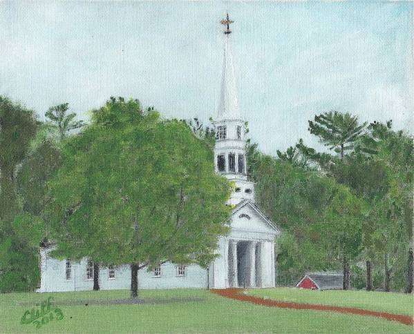 Green Poster featuring the painting Martha Mary Chapel by Cliff Wilson