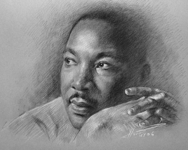Portrait Poster featuring the drawing Martin Luther King Jr by Ylli Haruni
