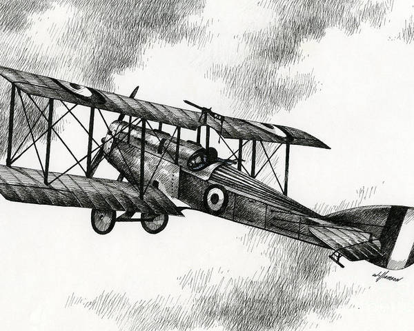 Airplane Drawing Poster featuring the drawing Martinsyde G 100 by James Williamson