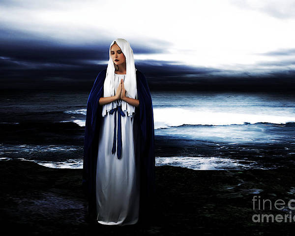 Mary Poster featuring the photograph Mary By The Sea by Cinema Photography