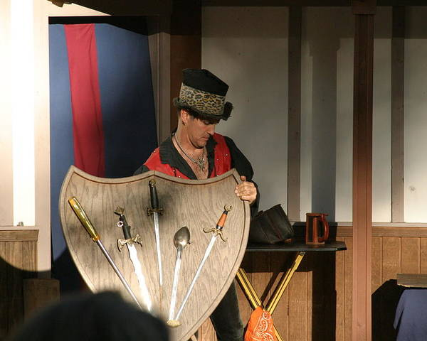 Maryland Poster featuring the photograph Maryland Renaissance Festival - Johnny Fox Sword Swallower - 121275 by DC Photographer