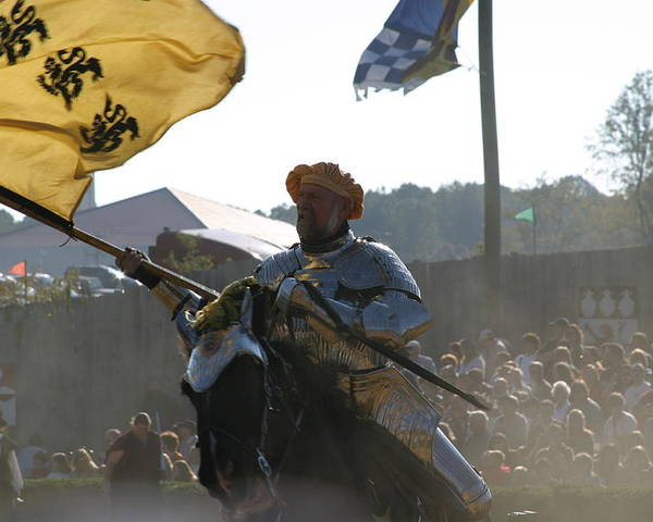 Maryland Poster featuring the photograph Maryland Renaissance Festival - Jousting And Sword Fighting - 1212130 by DC Photographer